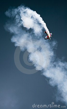 Biplane showing aerobatics figure