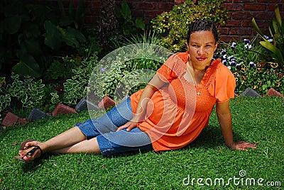 Biracial pregnant woman