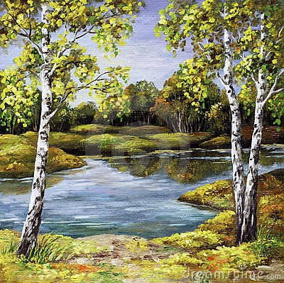 Birches on coast, autumn
