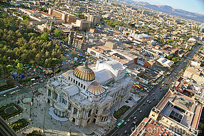 Bird´s eye View of Bellas Artes, Mexico City