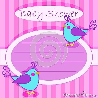 Bird baby shower invitation-girl