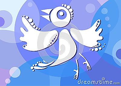 Bird-on-blue-background