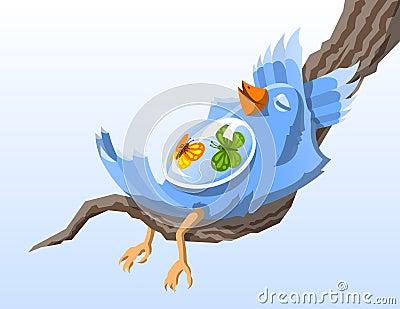 Bird with Butterflies