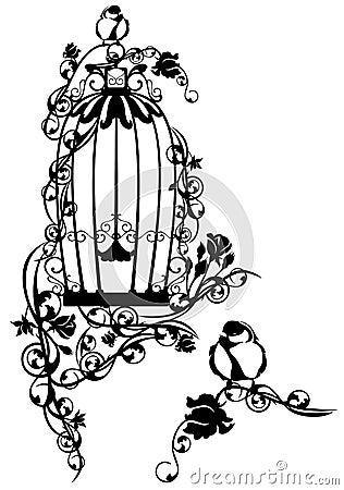 Bird cage stock vector image 42329268 - Dessin oiseau en cage ...