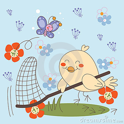 Bird catching Butterflies