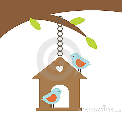 Bird couple with a house