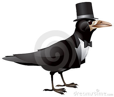 Bird dressed in black tie and top hat