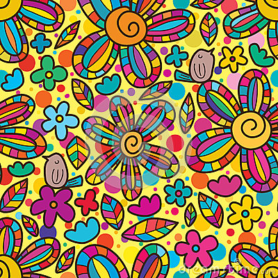 Free Bird Enjoy Flower Swirl Center Colorful Seamless Pattern Stock Photography - 78382652