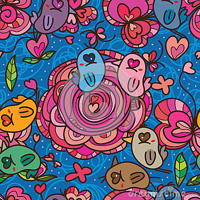 Free Bird Eye Love Flower Pink Color Seamless Pattern Stock Images - 66307634
