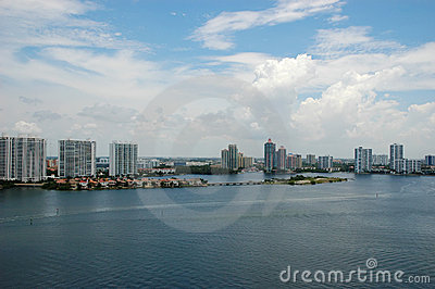 Bird-eye view of intercoastal, Sunny Isles Beach