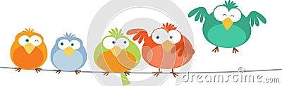 Bird Family on Wire