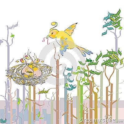 Bird feeding the chicks