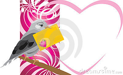 Bird with festive envelope. Valentines card