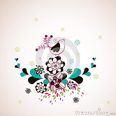 Bird and flora wallpaper