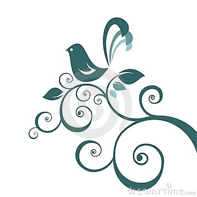 Bird and floral pattern