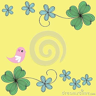 Bird and flower card pattern design