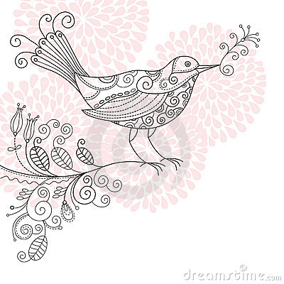 Bird with flowers