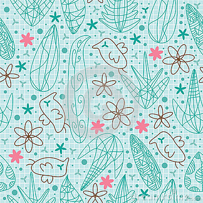 Bird Flowers Line Draw Seamless Pattern_eps