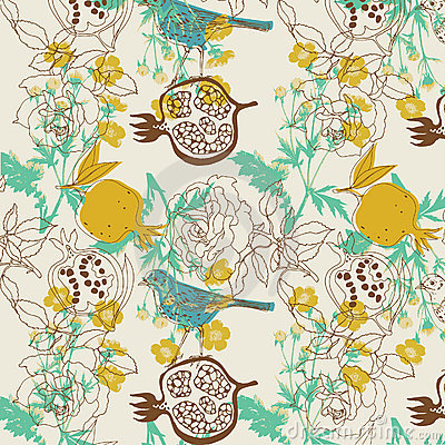 Bird and fruit design