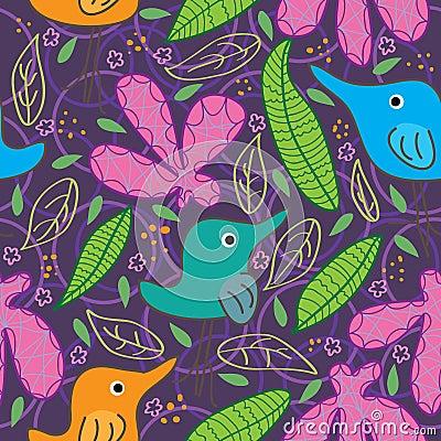 Bird Full Food Flower Leaf Seamless Pattern_eps