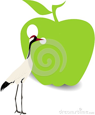 Bird and green apple