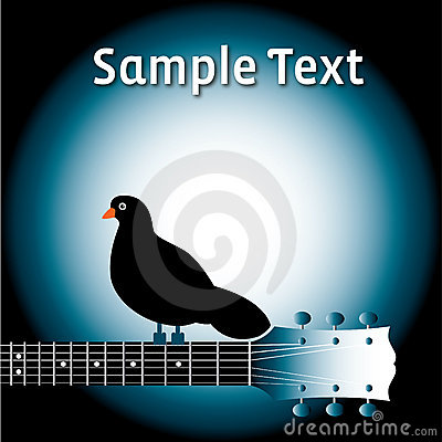 Bird on guitar neck with text