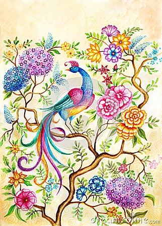 A bird of happiness in a fairy garden