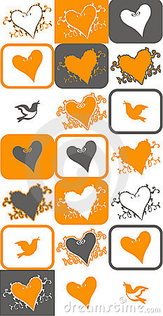 Bird and heart vector