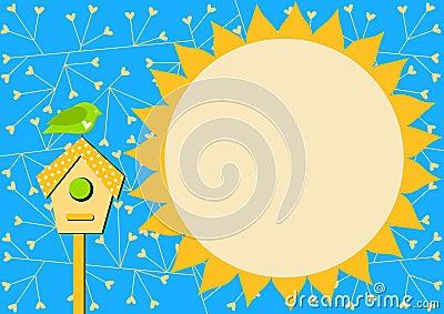 Bird house and Sun Invitation Card