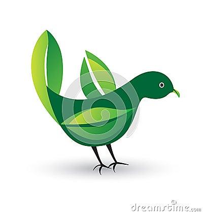 Bird with leafs logo
