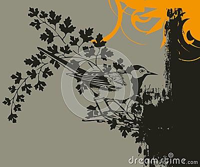 Bird on leafy branch