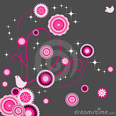 Free Bird Lover With Seamless Paisley Flower Stock Photo - 9914090