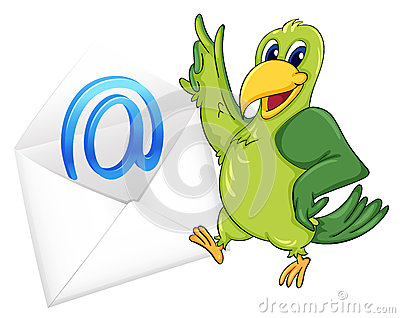 Bird with mail envelop
