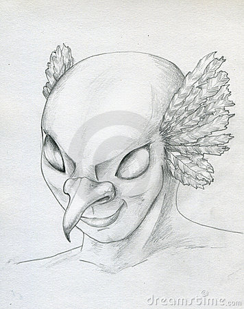 Bird - man face sketch