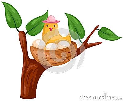 Bird and nest Vector Illustration