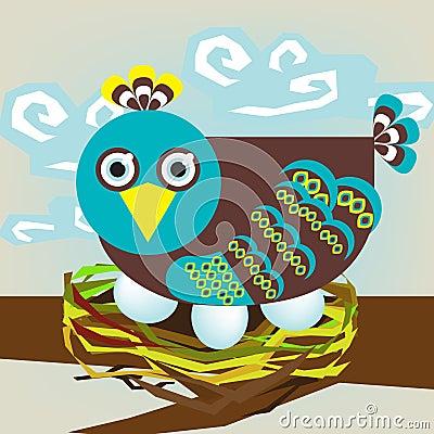 Bird on nest
