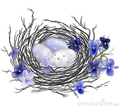 Free Bird Nest With Violets Royalty Free Stock Image - 13150636