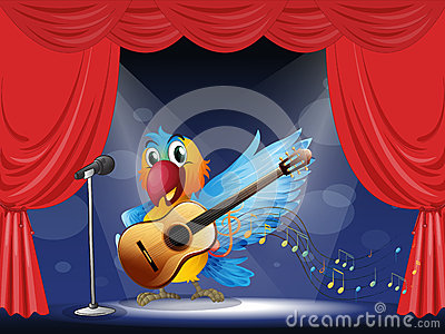 A bird performing above the stage