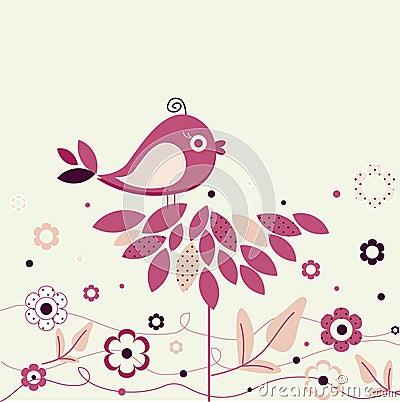 Bird and polka dot flowers