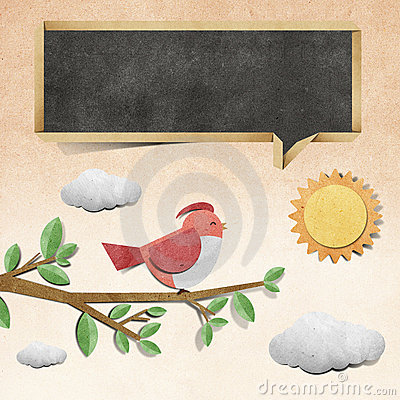 Bird  recycled papercraft background