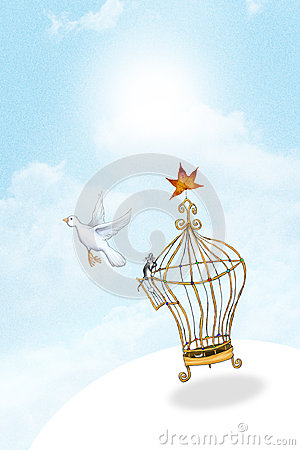 Free Bird Released From Cage Royalty Free Stock Photography - 36909527