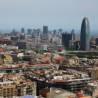 Bird s eye view of the Agbar Tower in Barcelona