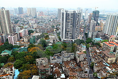 Bird s eye view of Guangzhou, China Editorial Stock Image