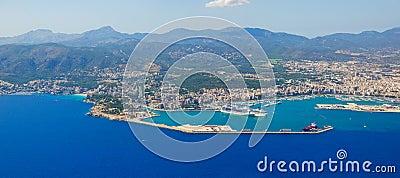 Bird s-eye view on the island Mallorca