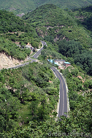 Free Bird S Eye View Of A Road Through The Valley Royalty Free Stock Images - 5465009