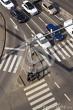 Free Bird`s Eye View Of Cars Crossing Intersection With People Walking On Crosswalk On March 3, 2017 In Prague, Czech Republic Royalty Free Stock Photo - 88042215