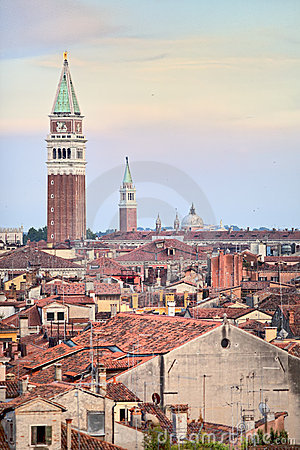 Bird s eye view on roofs of Venice at sunset