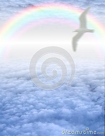 Bird in serene cloudscape