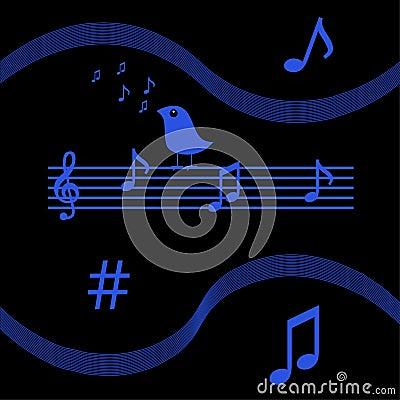 Bird singing musical notes
