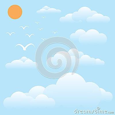 Bird at sky, sun and cloud